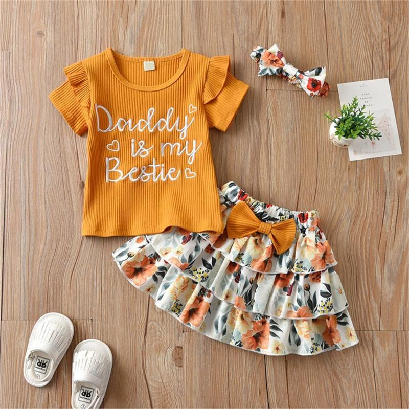 Family Matching Outfits 2021 Style Summer Baby Letter Skirt Suit 2 Piece Floral Infant Clothes T Shirt Skirts Bow Headband Outfit
