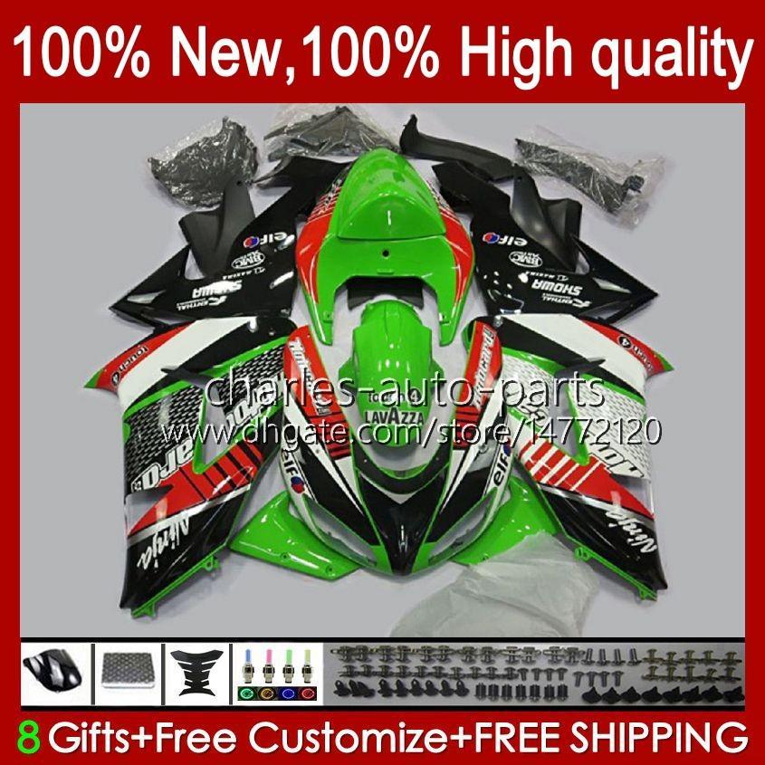 OEM-Karosserie für Kawasaki Ninja ZX1000 ZX-10R ZX1000cc 06-07 Moto-Körper 14No.8 ZX 10R 10 R 1000 CC 1000cc 2006 2007 ZX10R 06 07 ZX1000C 2006-2007 Verkleidungen Grüner Bestand