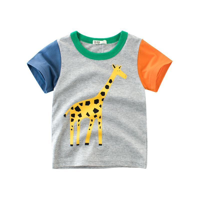 Boys 2021 Summer Tshirt Short Sleeve Cartoon Clothes 2-7 Years Children Cotton Shark Clothing Printed Tops Tees Cascul Underwear 1076 X2