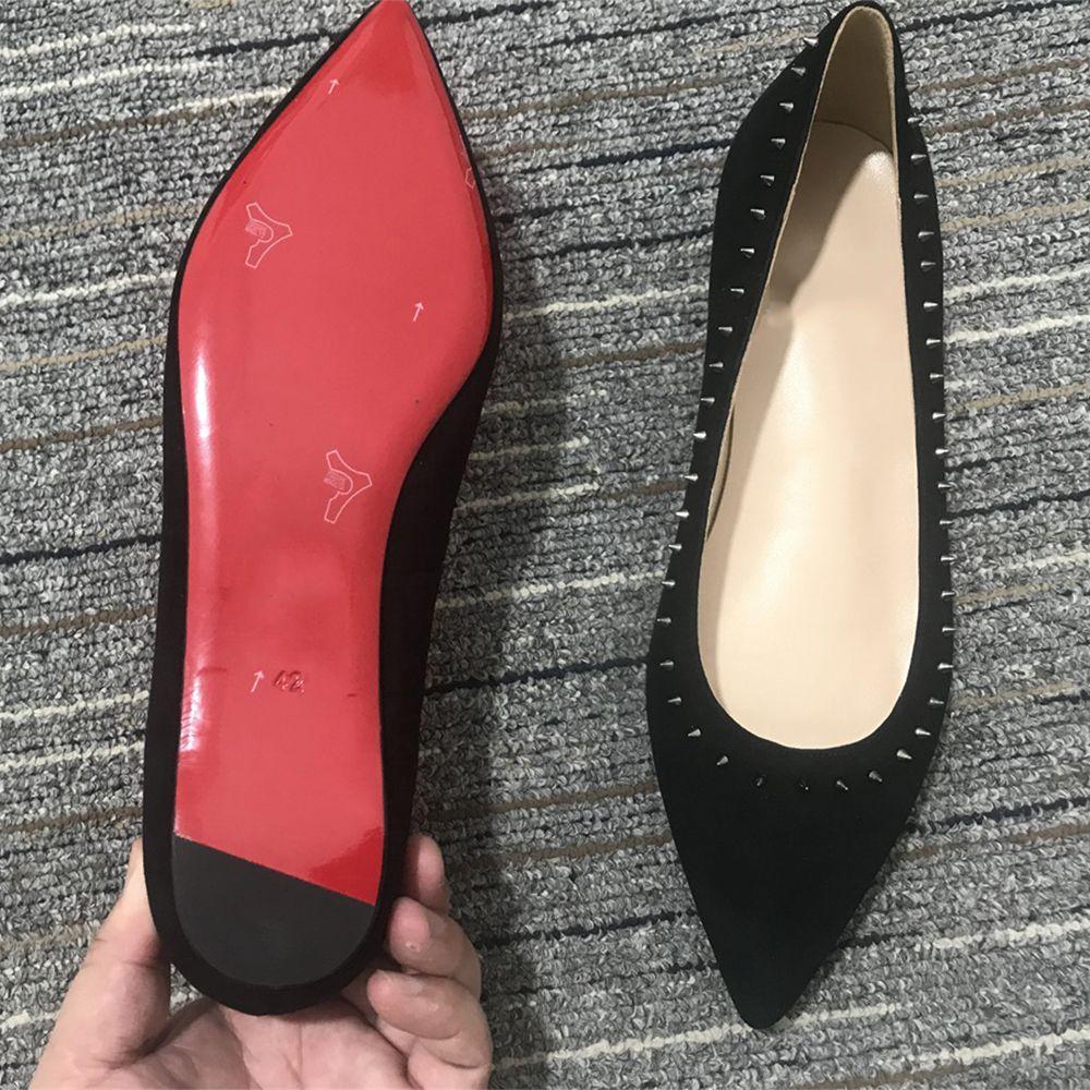 2021 Summer Femmes Chaussures Noires Slip-On Rouge Plat Fond Talons Grnuine Cuir Cuites Cuites Coupes Glitter Strass Office Bureau Carrière Taille 35-41