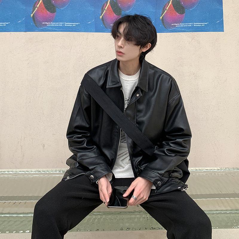 Erkek Ceketler 2021 Sonbahar PU Nedensel Ceket Kore Moda Yakışıklı Fermuar Uzun Kollu Kısa Coat Workwear