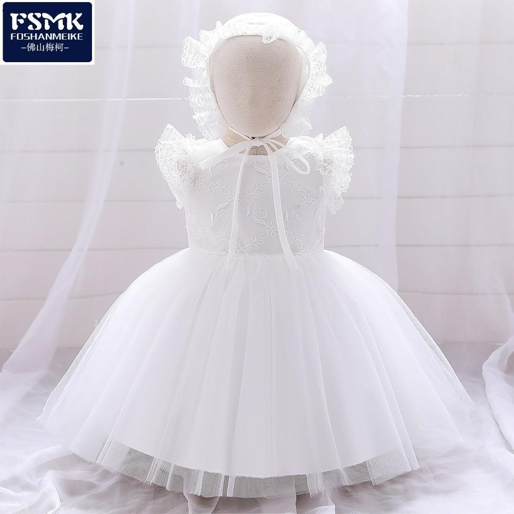 White Edge Girls Mouthless White Dress + Cape Newborn Baptism Suit for Baby Dress 210506