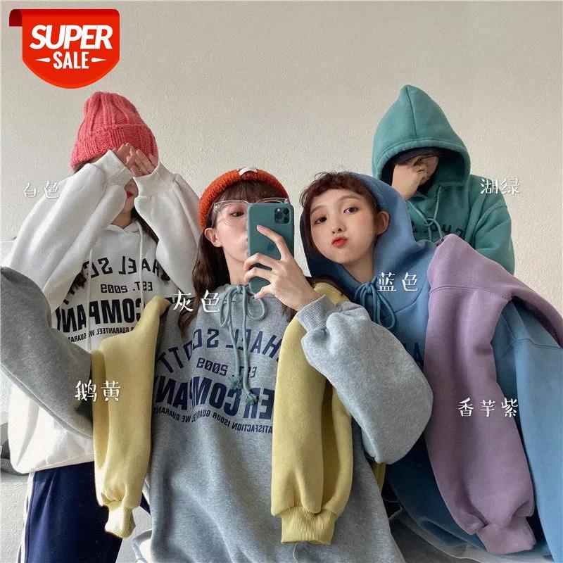 البلوز الشتاء النساء الكورية فضفاض مقنعين المتناثرة نمط ins شيك المتضخم طويل الأكمام إلكتروني طباعة البلوز عارضة البلوز الدافئة # 4L4A