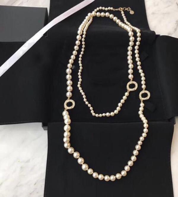 Collar de cuentas de la cadena de la cadena de la cadena de la perla de la moda popular para la joyería de la boda de la fiesta de las mujeres para la novia con la caja HB521