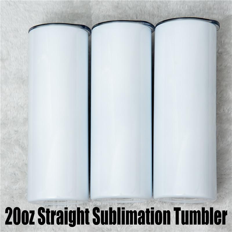 20oz diy sublimação em branco copo em linha reta com tampa de palha Doubel Wall Thermos Copa Drinkware