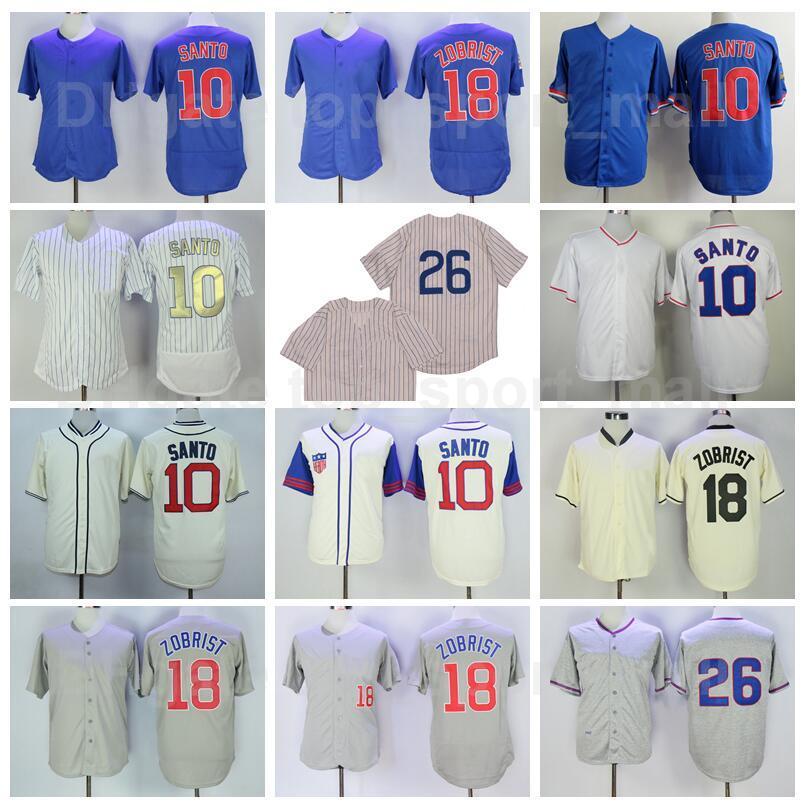 Retro 1929 1942 1968 1969 1988 1994 Vintage Baseball 10 Ron Santo Jersey 26 Billy Williams 18 Ben Zobrist Cooperstown Pinstripe Cool Base