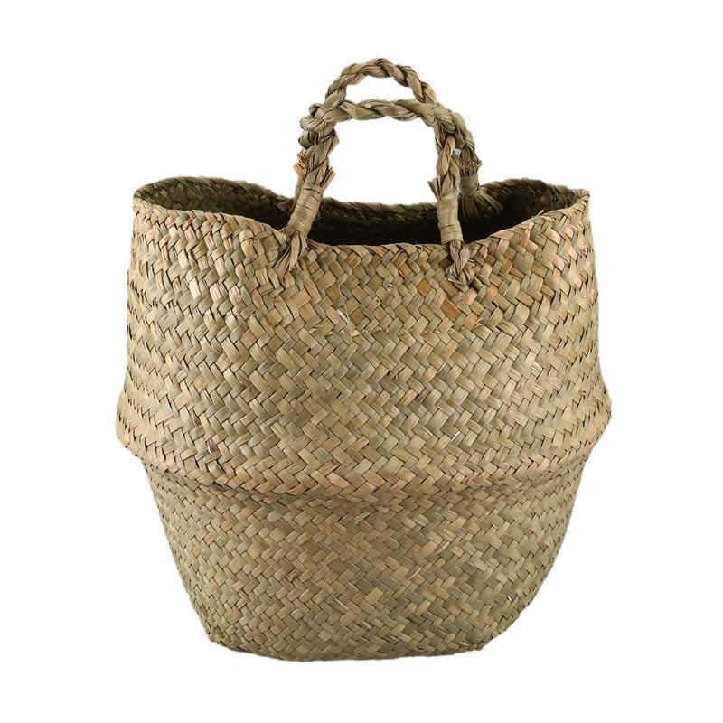 Hängende Körbe gewebt Seegrass Korb, Tote Bauchkorb für Lagerung, Wäscherei, Picknick, Pflanzentopf Cover Beachtasche
