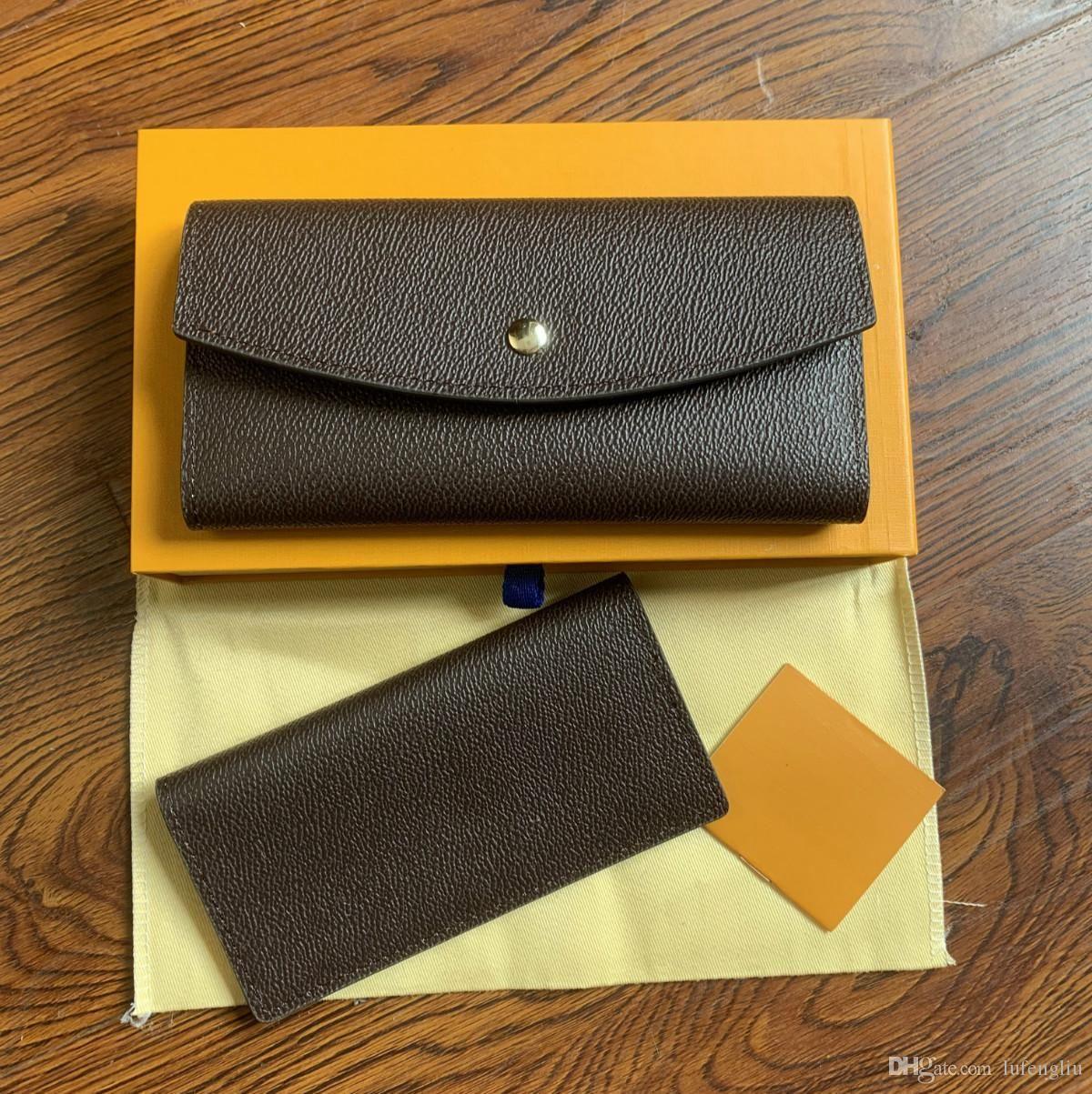Франция дизайнер женская длинная чековая книжка кредитной карты фото держатель бумажника коричневый моно грамм белый клетчатый холст кожа с коробкой и пылью