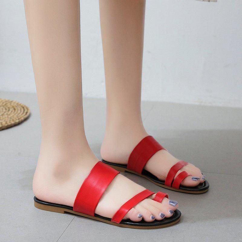 Summer Mujer zapatillas PU Cuero Cuero Sandalias Clip Toe Fashion Fashion Flats Zapatos Femenino Flip Flop Plus Tamaño Slipper