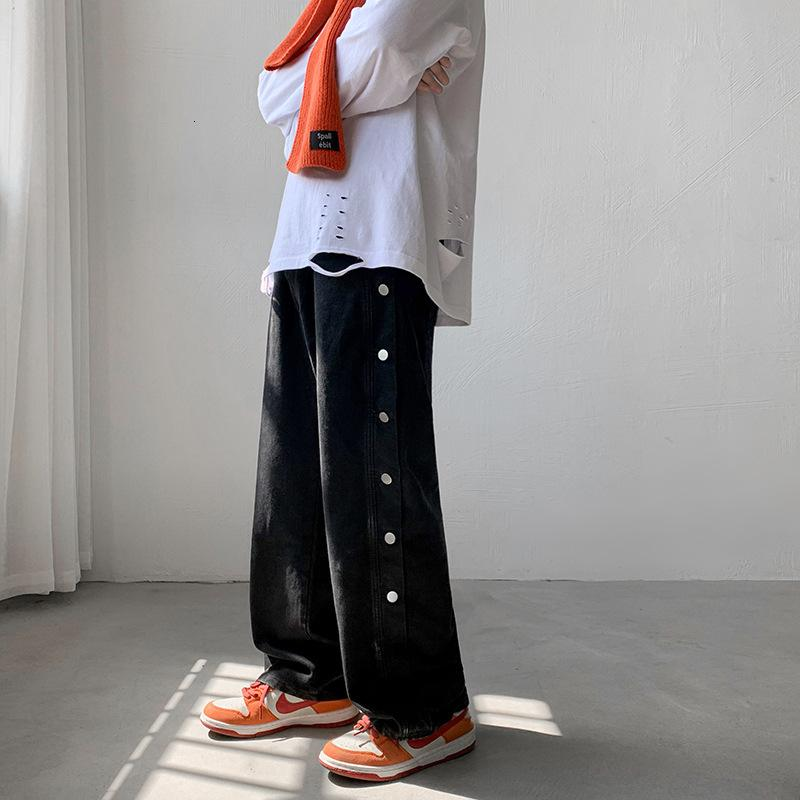 Guochao High Street Lose Jeans Herbst Herbst und Winter Ins Gerade Tube Beiläufige abgenutzte Button Tropfen Gefühl Hip Hop Hosen