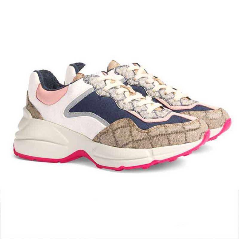 2021 Designer Lady Sapatos Casuais Genuíno Couro Mulheres Sneaker Letras Lace-up Luxo Mulher Sneakers Plataforma de Moda Homens Shoe Shoe Horário 35-45