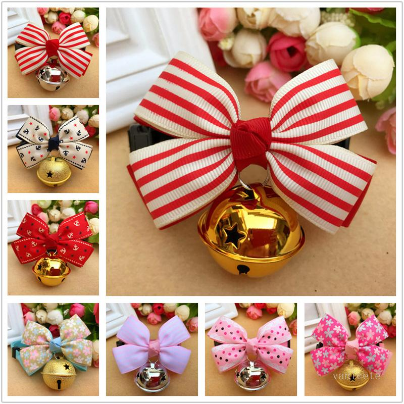Pet Dog Collars Tie Bow Dogs Chokers Cat Bell Collar Fashion Pet Products 26 Style T9i001229