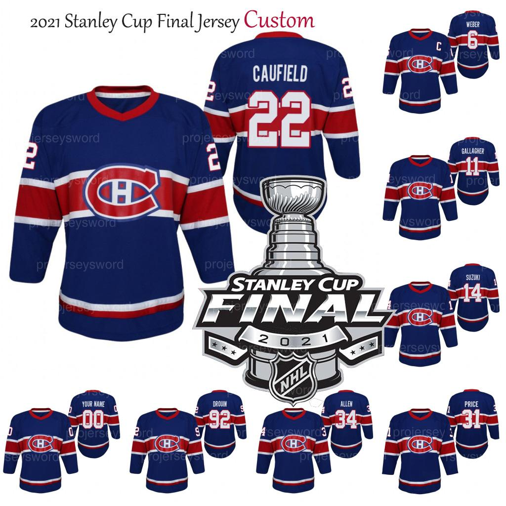 2021 Stanley Cup Final Cole Cole Cola Montreal Canadiens Jersey 31 Carey Preço 14 Nick Suzuki 11 Brendan Gallagher 6 Shea Weber Eric Staal Juventude Hóquei Jerseys