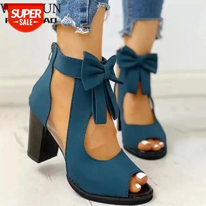 Women High Heels Summer Ladies Elegant Butterfly Knot Mesh Sandals Back Zipper Fish Mouth Party Sandalias Fashion Shoes #bF6b