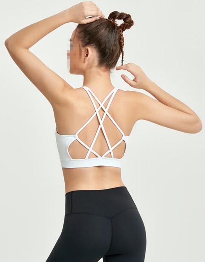1166 برأس الرياضية للنساء اليوغا البدلة المحاصيل الأعلى أنثى اللياقة البدنية رياضة الصدرية جوفاء تنفس مثير