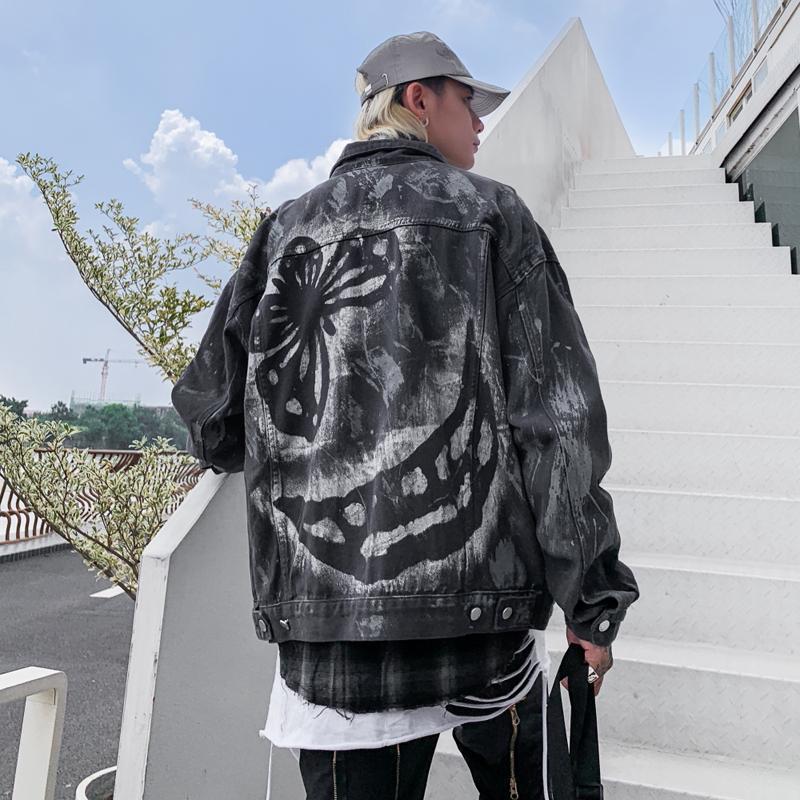 Jaquetas dos homens homens denim jaqueta 2021 outono carrinho colar de jean borboleta impresso masculino rua hip hop solto outerwear