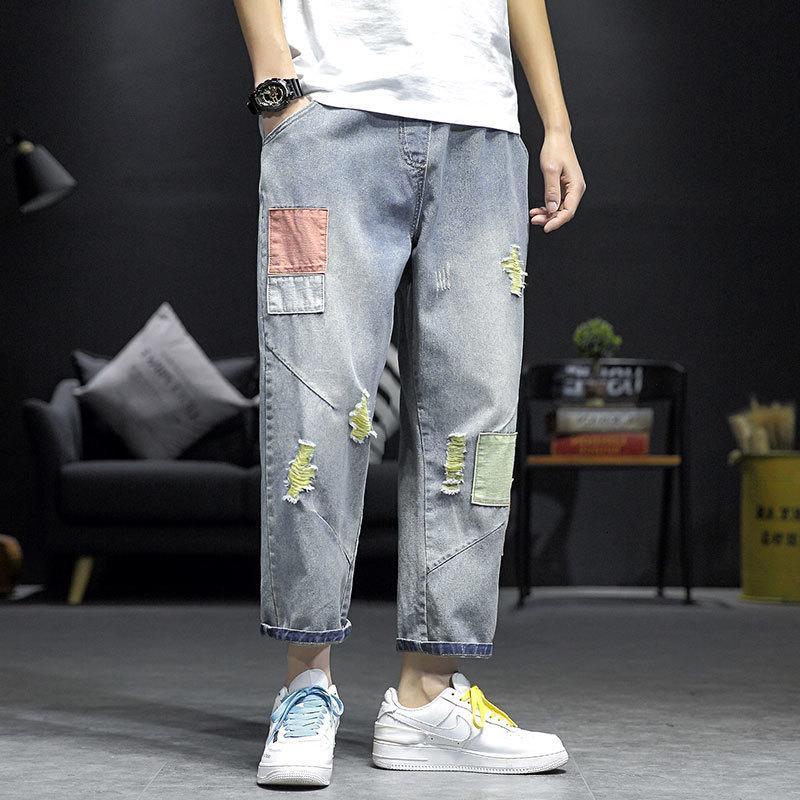 구멍 패치 청바지 남성 패션 히트 힙합 Jean 바지 남성 스트리트 착용 느슨한 캐주얼 스트레이트 데님 바지 Mens M-5XL