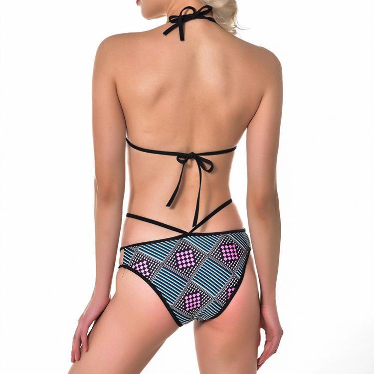 19 Nuevo corte de traje de baño de bikini impreso dividido