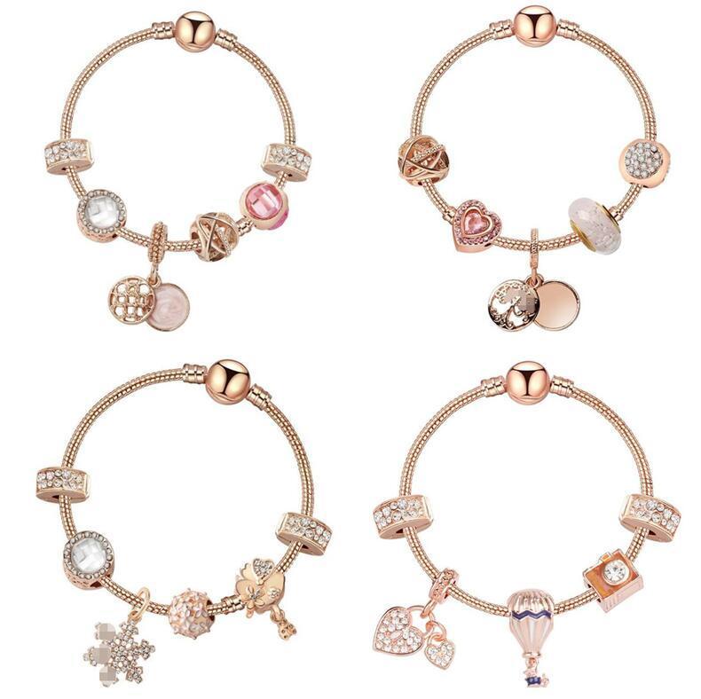 4 Styles Pan Style Charm Bracelet Women Fashion Beads Snowflakes Balloon Bangle Plated Rose Gold Diy Pendants Bracelets Girls Wedding Jewelrys