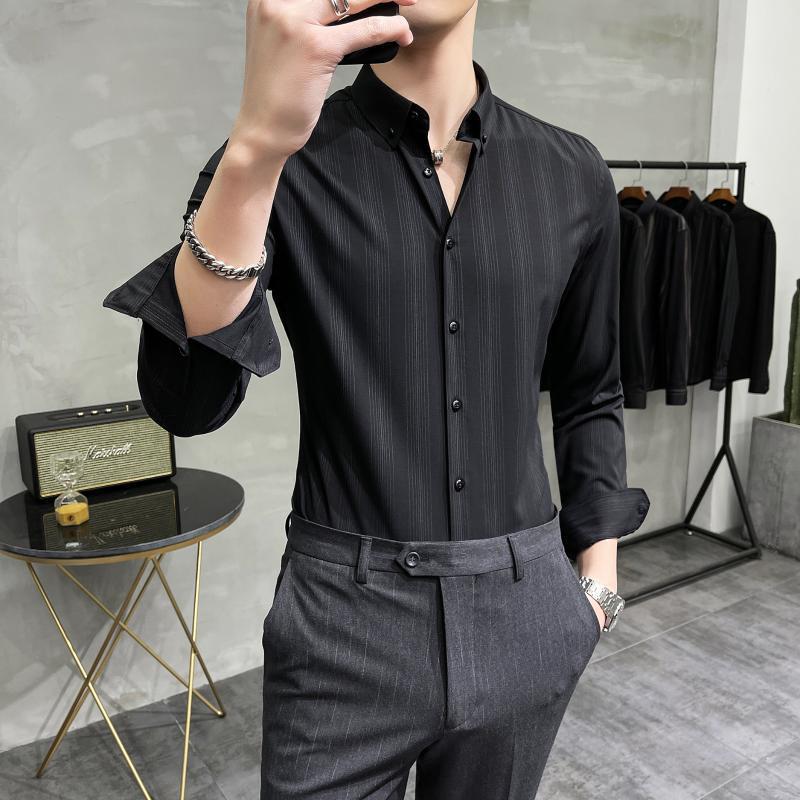 고품질 비즈니스 셔츠 남자 슬림 맞는 긴 소매 캐주얼 사무실 작업 웨딩 드레스 의류 사회 파티 블라우스 캐미 사 남자 셔츠