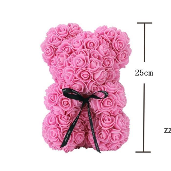 Rose Teddy Bear Fiori di sapone artificiale a madri regalo Girlfriend Anniversary Christmas Valentine's Day Compleanno presente HWE9440