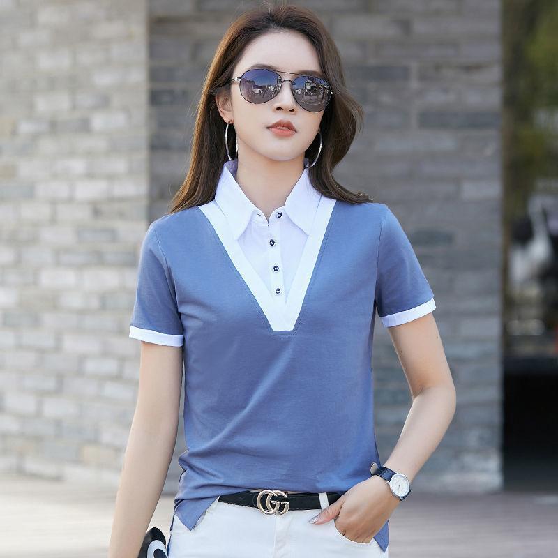 여름 2021 여성 슬리밍 착용 순수 코튼 가짜 2 조각 슬림 피트 반팔 티셔츠 탑 폴로스