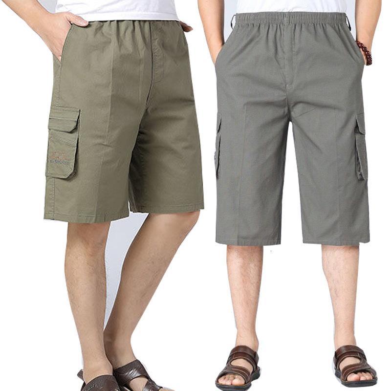 Herren Shortsme's Shorts Sommer Dünne Baumwolle Multi Pocket Overalls Mitte Alter Männer Shorts Loose Dad Capris