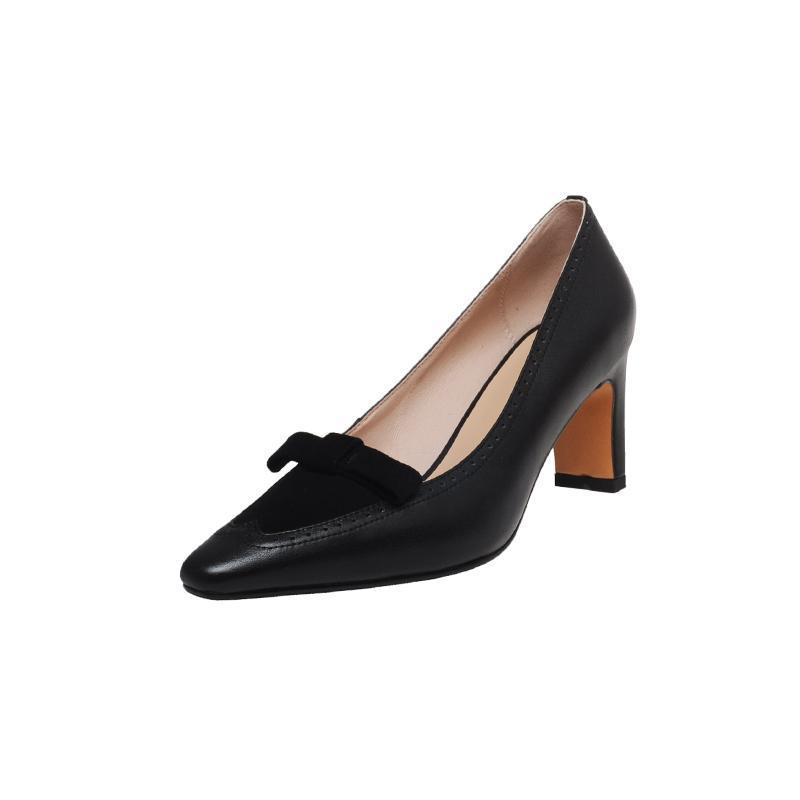 Moda tek ayakkabı kadın 2021 bahar retro dikiş yay tatlı ve zarif yüksek topuklu banliyö elbise