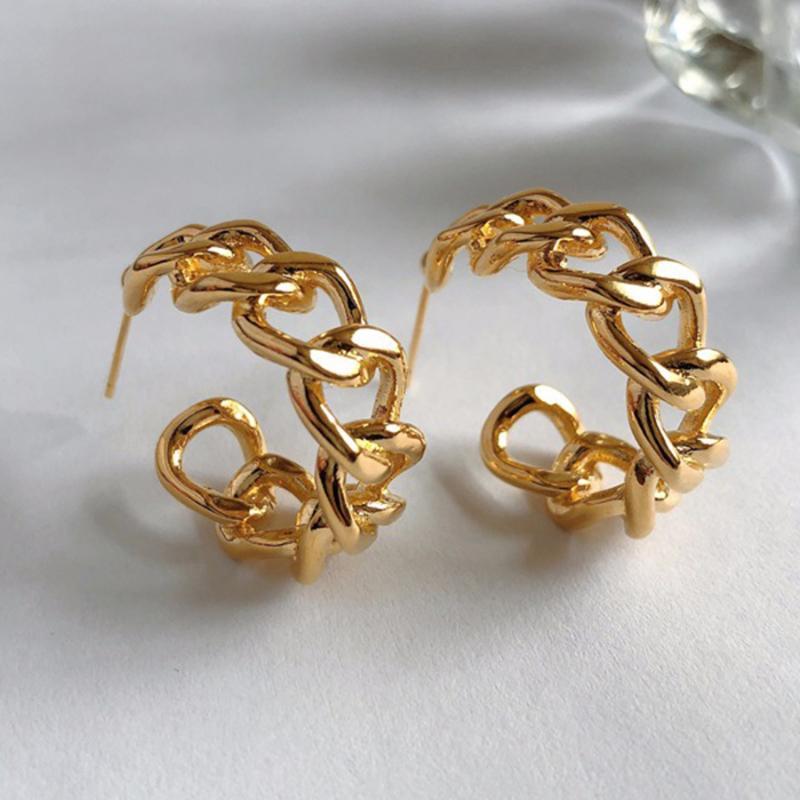 Pendientes de cadena de color de oro minimalista Metal círculo grande geométrico redondo grande para mujeres niña boda fiesta joyería