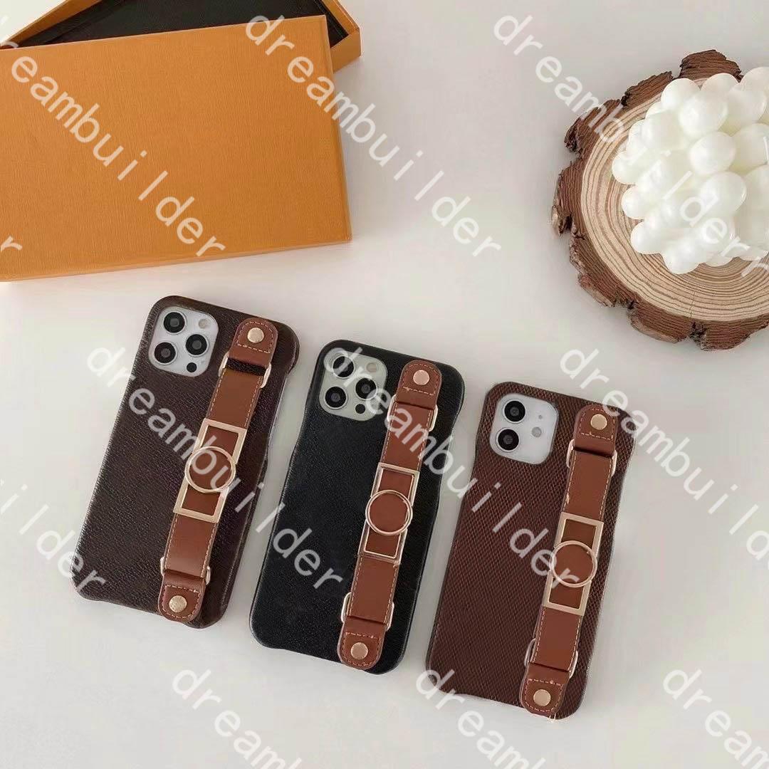 Casos de telefone de moda para iphone 13 12 pro máximo 11 12PRO 13PROMAX 7P 8P x XS XR XSMAX PU clássico couro proteção caso desenhista capa com caixa pulseira