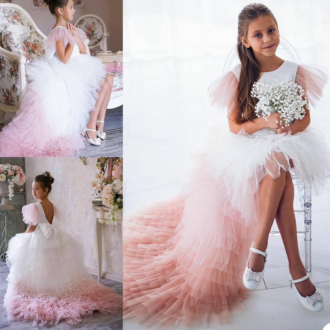 2021 Photoshoot Flower Girls' Dresses Jewel Short Sleeves Little Girls Ruffled Tulle Skirts Formal Wear Kids Birthday Party Dress