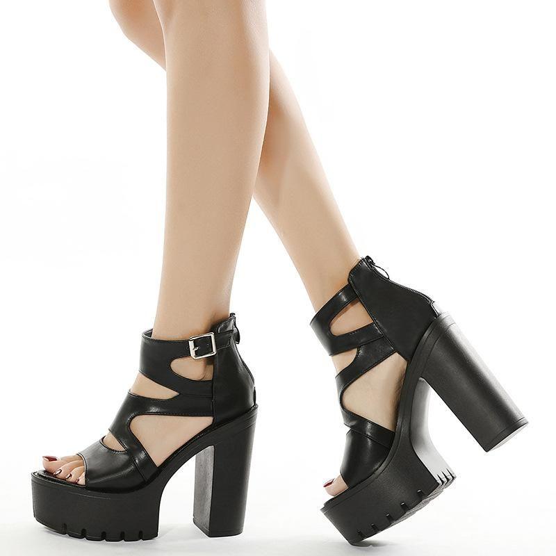 Elbise Ayakkabı Yaz Kadın Beyaz Toe Düğme Kemer Kalın Topuk Takozlar Platformu Moda Rahat Sandalet Kadın944