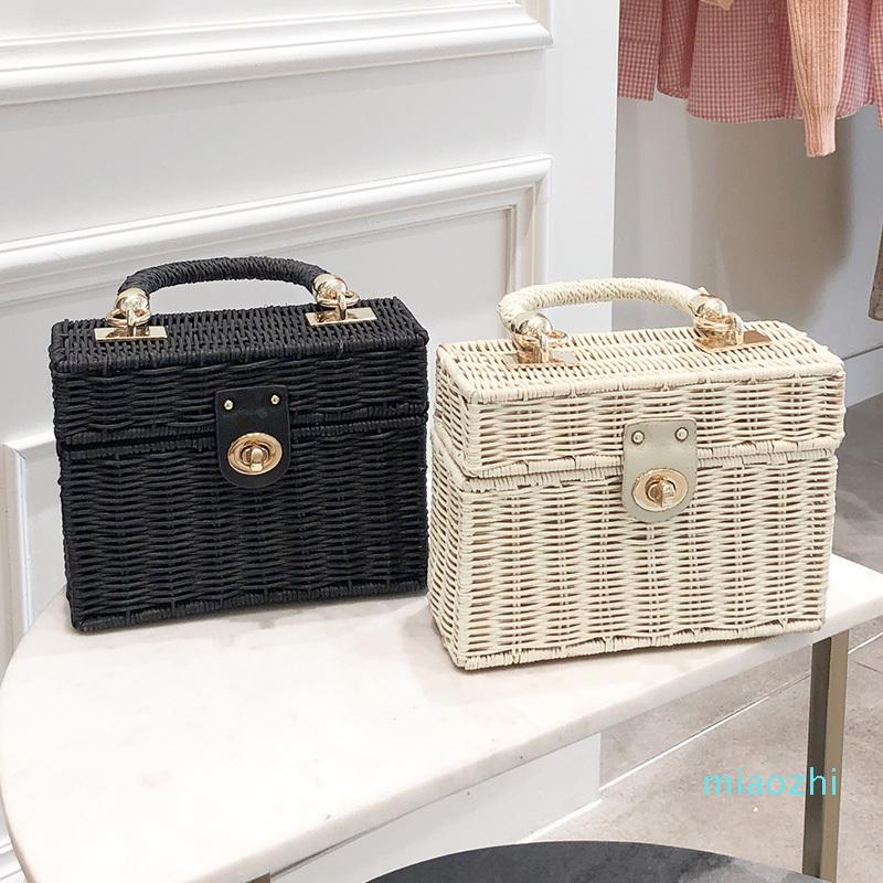 Casual Rattan Box Straw Bags Wicker Woven Women Handbags Handmade Shoulder Crossbody Bags Summer Beach Small Purses Famade Bag C0326