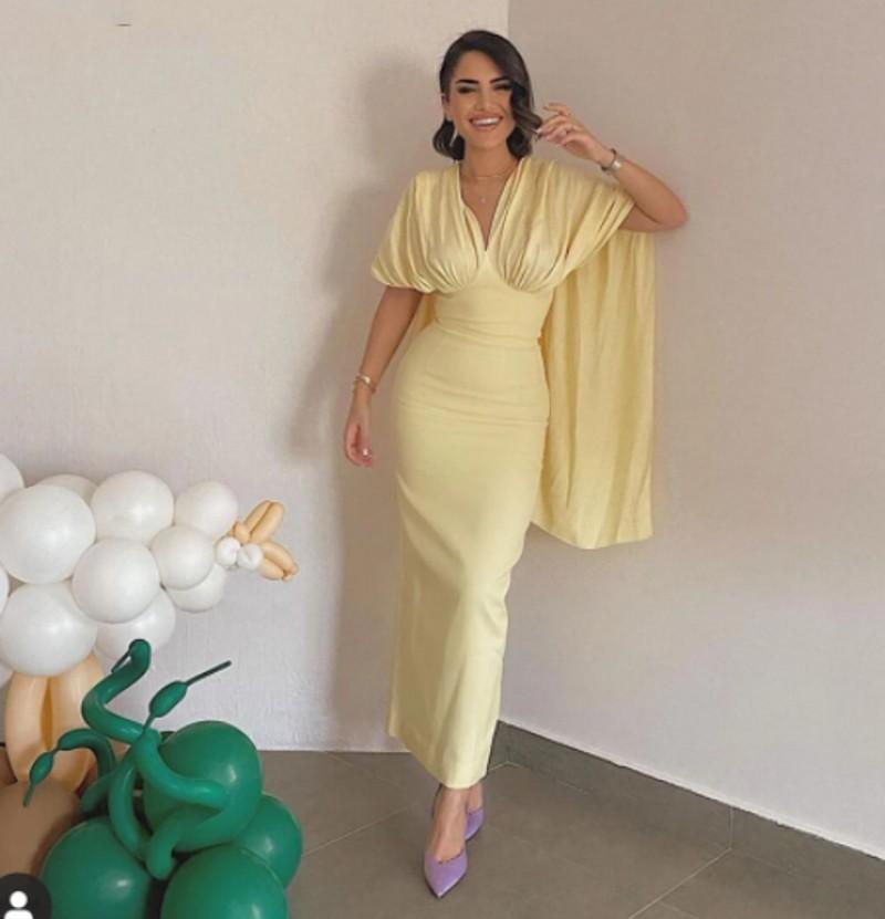 Simple citron jaune satin satin robes de soirée de satin Cape manches veaux de cheville longueur Dubaï formelle promenade robe robe de soree