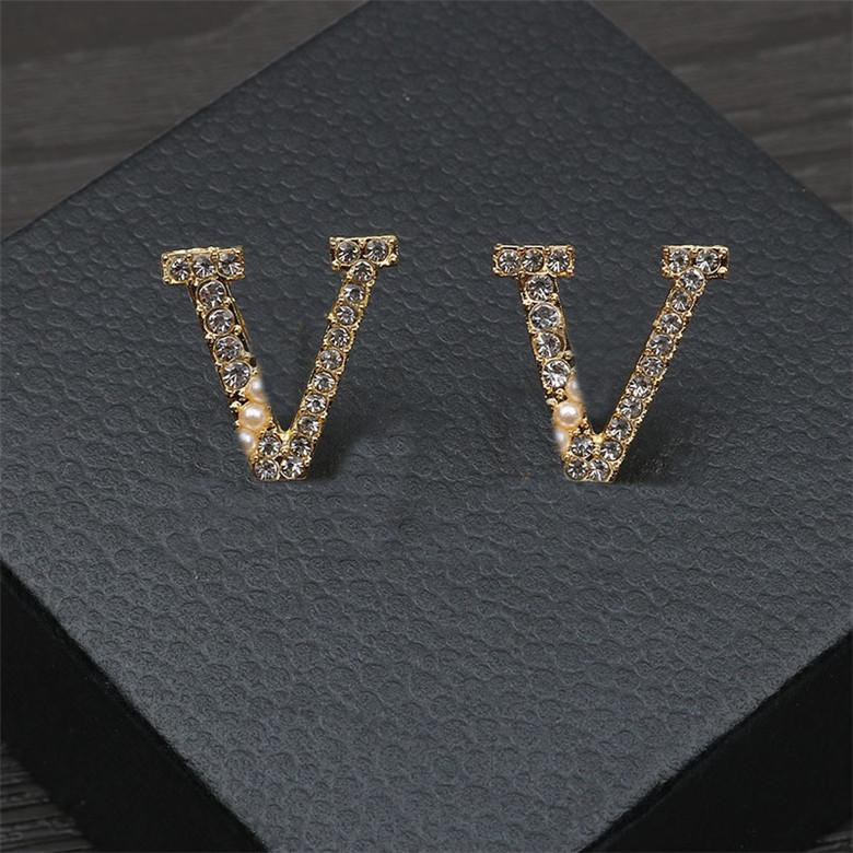 Carta de moda Diamante Colar Brincos Pearl Designer Brincos Parafusos Mulheres Jóias Conjuntos Presente Para Anniversary Partido