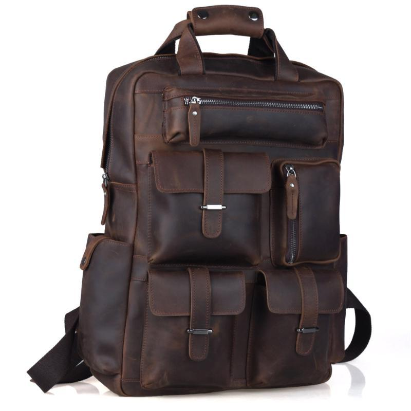 Backpack TIDING Weekender Bag Crazy Horse Leather Backpacks Casual Style Carry On Travel 3081