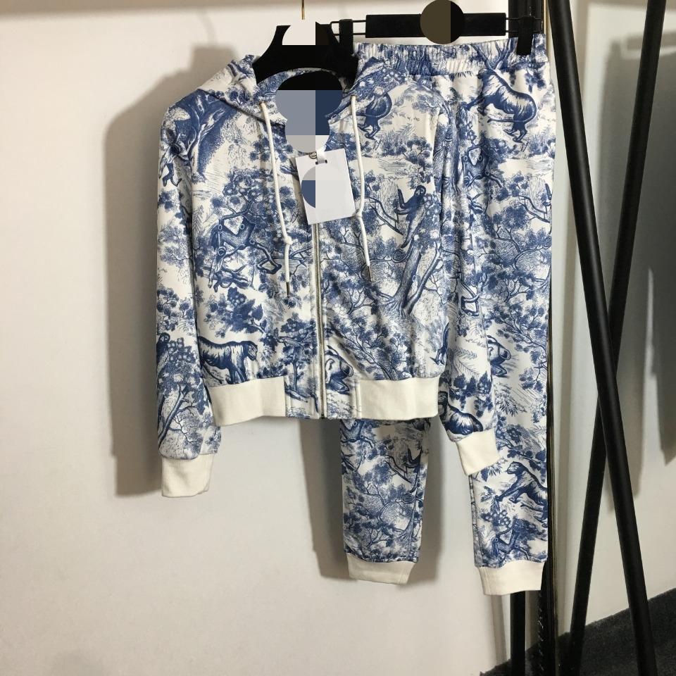 705 XL 2021 Primavera Estate Brand Same Style Due pezzi Set SETS PANTALONI LUNGO CRICK Neck Manica Lunga Empire Impero rosa blu plaid moda donna vestiti abbigliamento