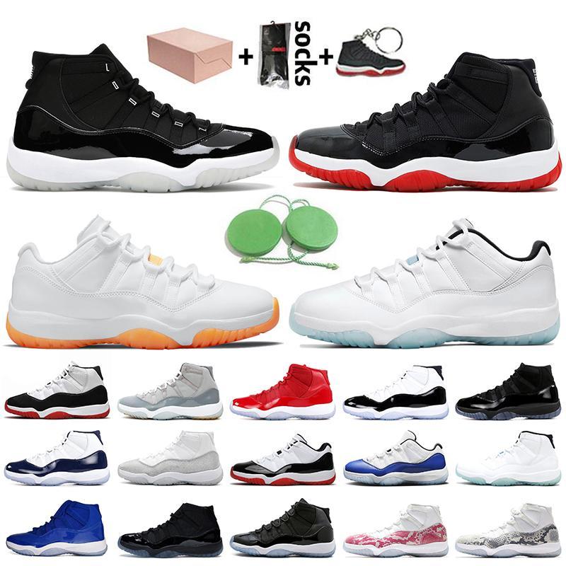nike air jordan 11 retro 11 11s stock x Avec boîte femmes hommes chaussures de basket-ball Jumpman 11 jubilé 25e anniversaire de race légende bleu agrumes Concord baskets