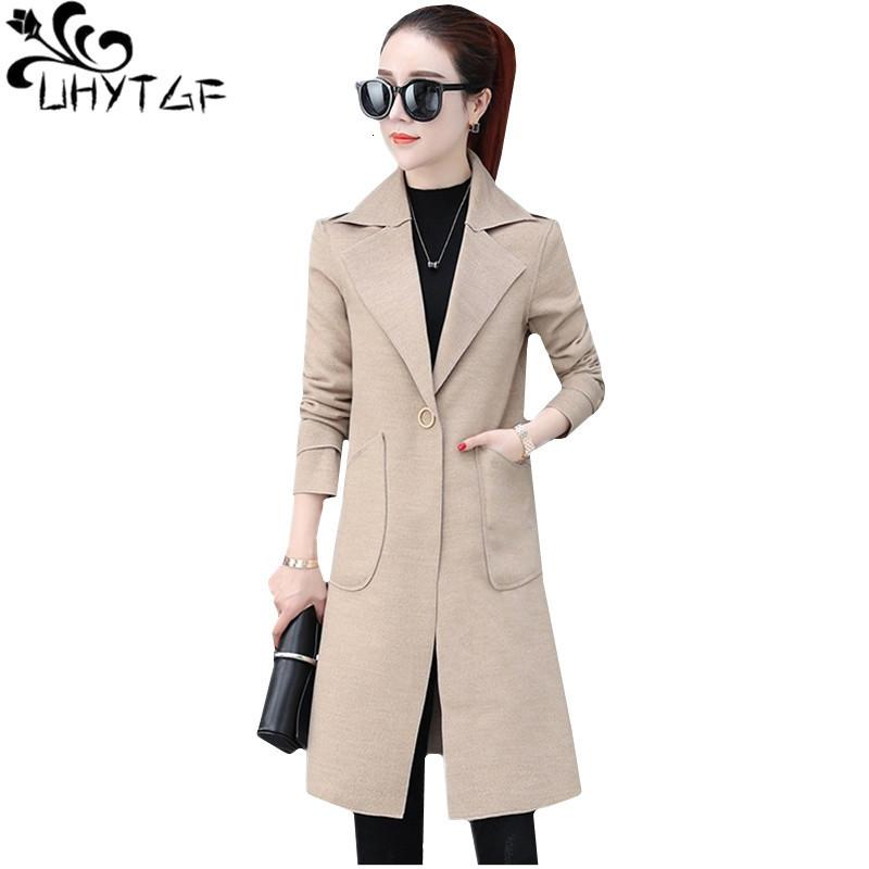 Uhytgf Woolen Cappotti femminili 2021 moda lusso a doppia la schiea autunnale cappotto invernale donna risvolto sottile temperamento giacca da donna 468