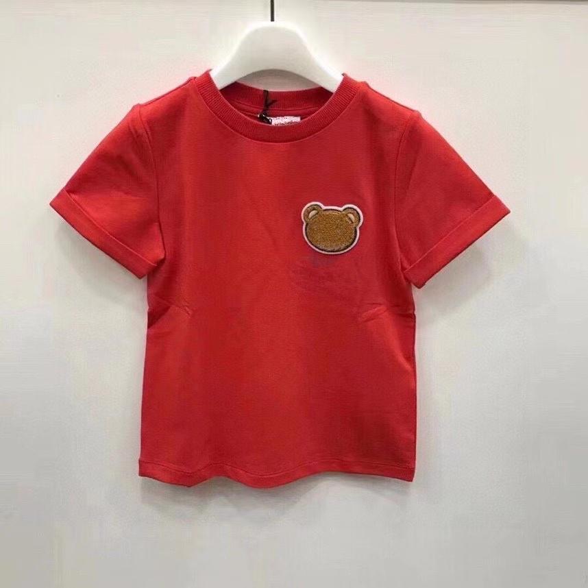 Детские моды футболки классические с коротким рукавом тройники топы мальчиков девочек девочек повседневная буква напечатано с помощью медведя шаблон футболки пуловер