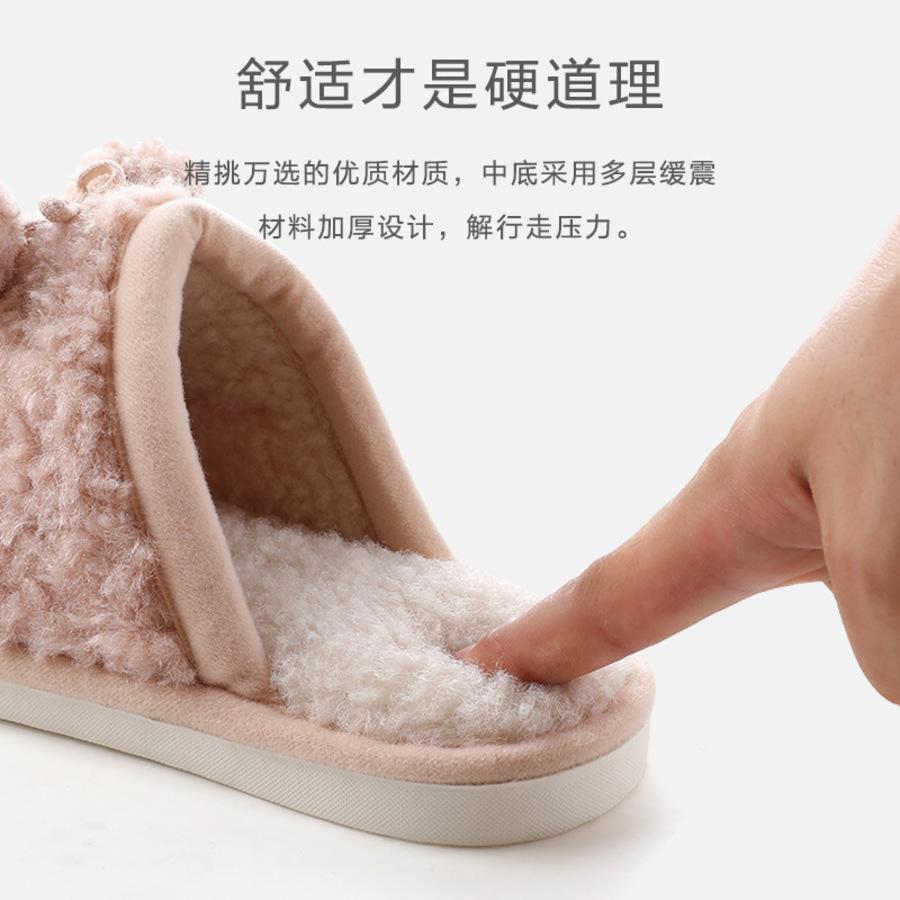 Liangcheng Home Sommer Winter Quaste Plüsch Warm Herren- und Damen Hausschuhe Baotou Baumwolle Pay5