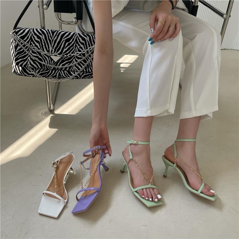 Quadratische Zehkette Sandalen Frauen One-Line Schnalle 2021 Sexy Leder Mode High Heels