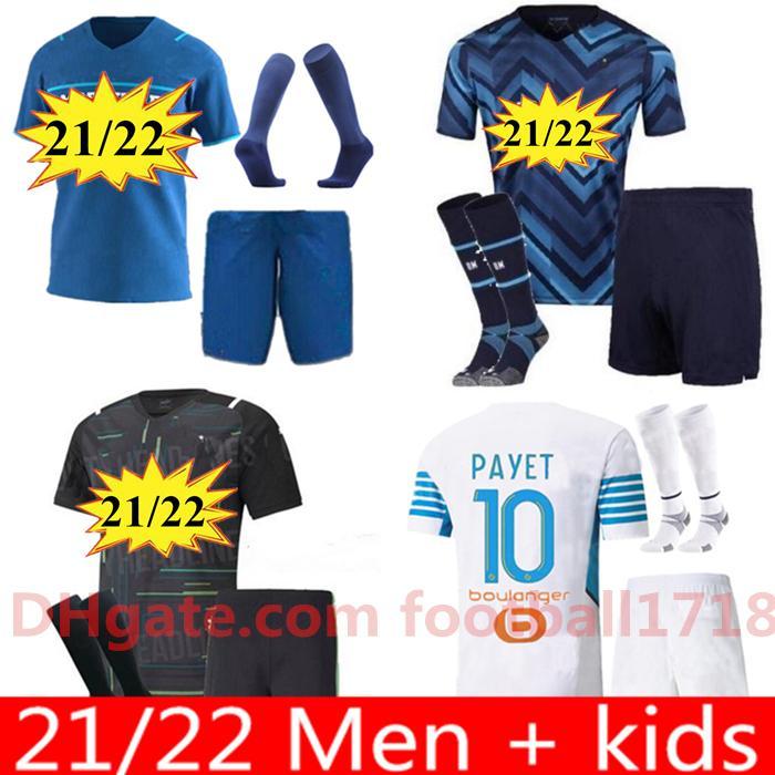 남자 키트 21 22 Olympique Om Marseille Soccer Jersey 2021 2022 마르세이유 Maillot 드 발 Kamara Thauvin Camisetas Payet Benedetto Lirola 축구 셔츠 유니폼