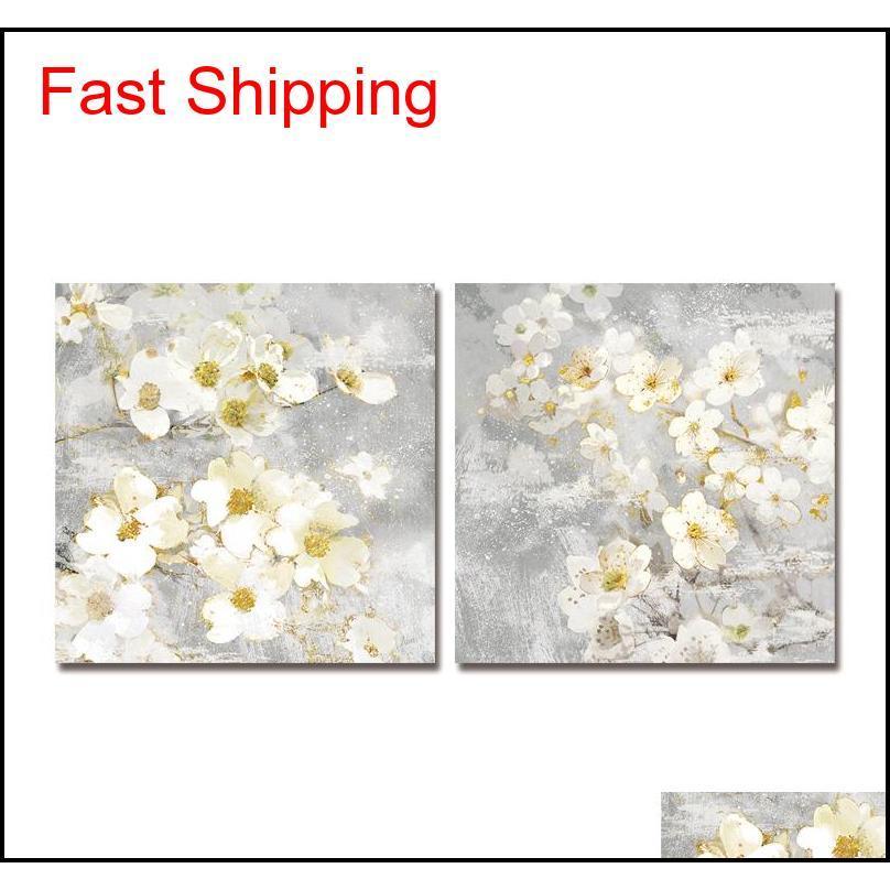 Pintura al óleo DYC 10059 2 UNIDS Flores blancas Imprimir arte Listo para colgar pinturas Nkasj T8SGC