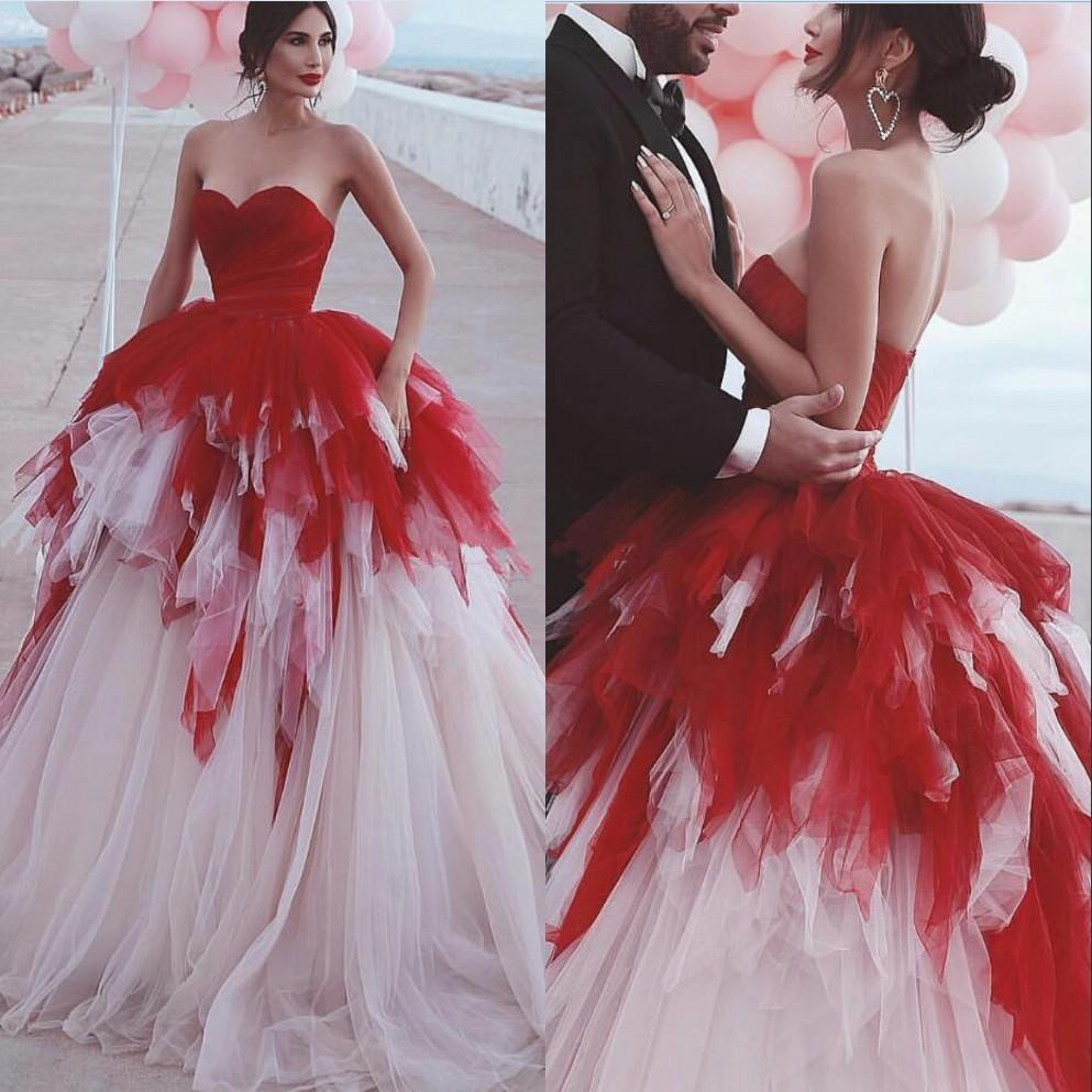 Red And White Tiered Tulle Ball Gown Wedding Dress 2021 Vintage Said Mhamad Sexy Sweetheart Backless Quinceanera Princess Bridal Gowns Plus Size Arabic AL9292