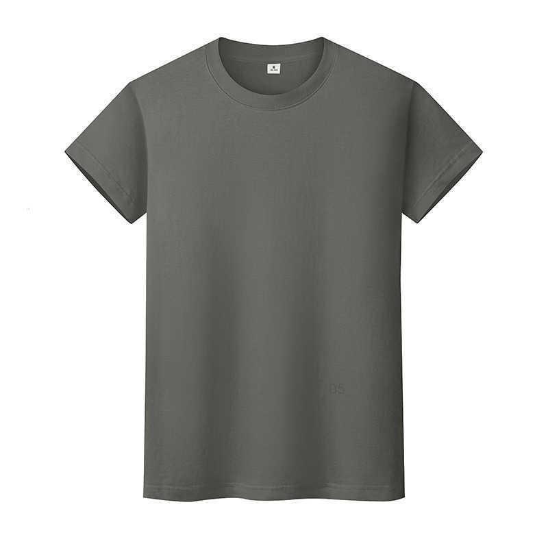 ND Boyun Katı Renk T Gömlek Yaz Pamuk dibe Kısa Kollu Erkek ve Bayan Yarım-SleeveaTeqC