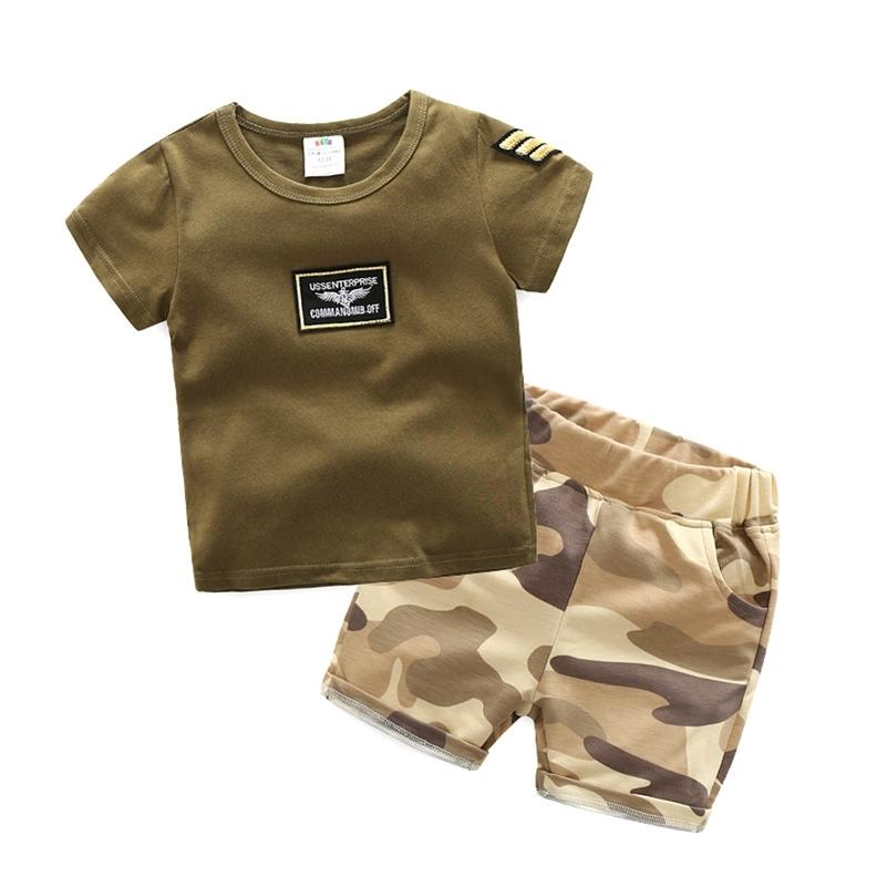 Abbigliamento per bambini Estate Short-Sleeve Shorts Twinset Baby Boy Army Green Camouflage Set 90 100 110 120 130 140 cm 2T-10 anni 210414