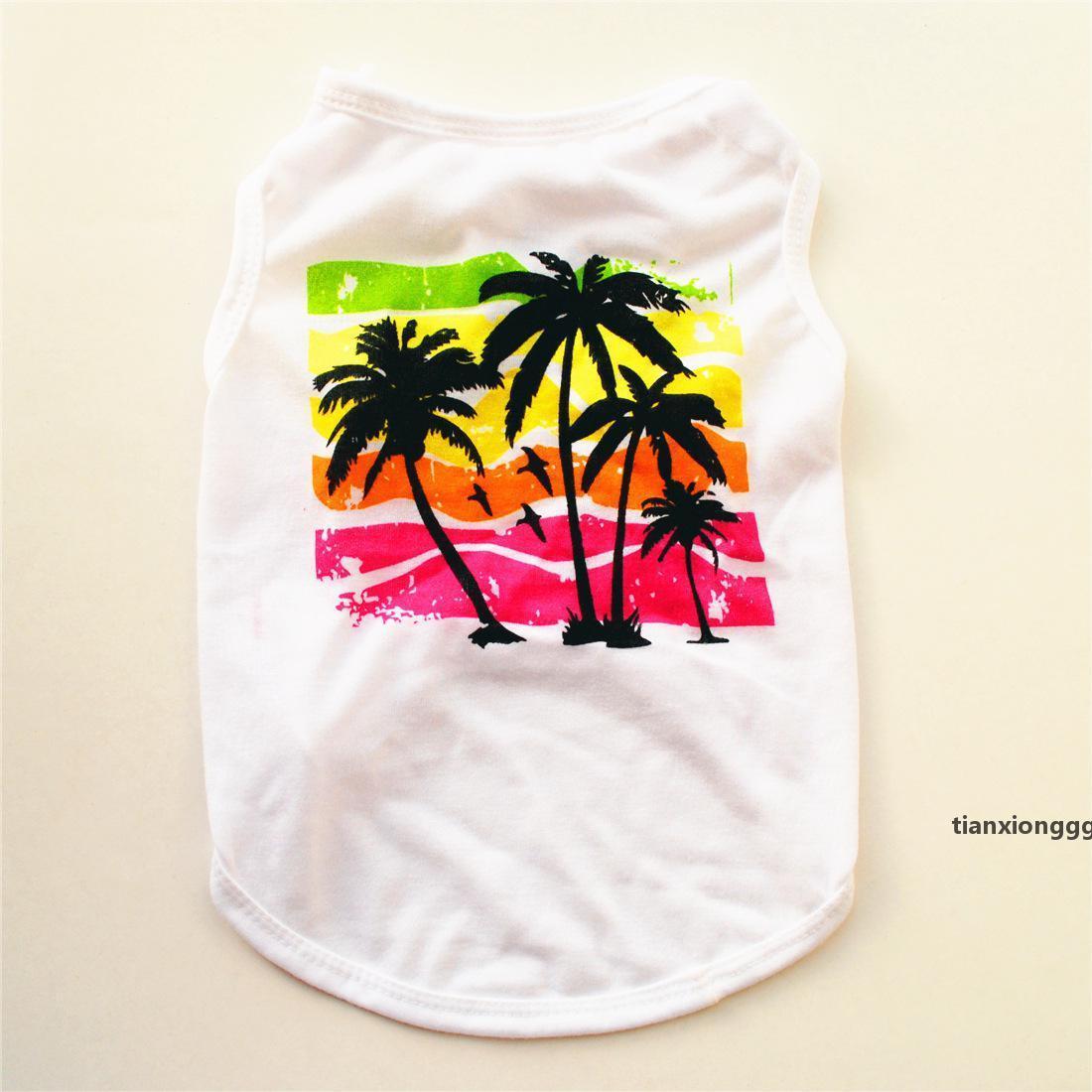 Verão Havaí Coco Coco Imprimir Vestuário Pet Dog Design Luxo Vest Colete Cachorrinho Teddy Dog Roupas Moda U
