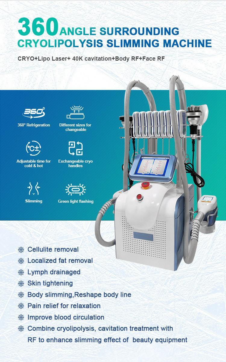 Cryo Skin Fat Freeze Cryotherapy 360 Degree Freezing Slimming Machine Ultrasonic Cavitation Lipo Laser Degreasing Home Salon Use