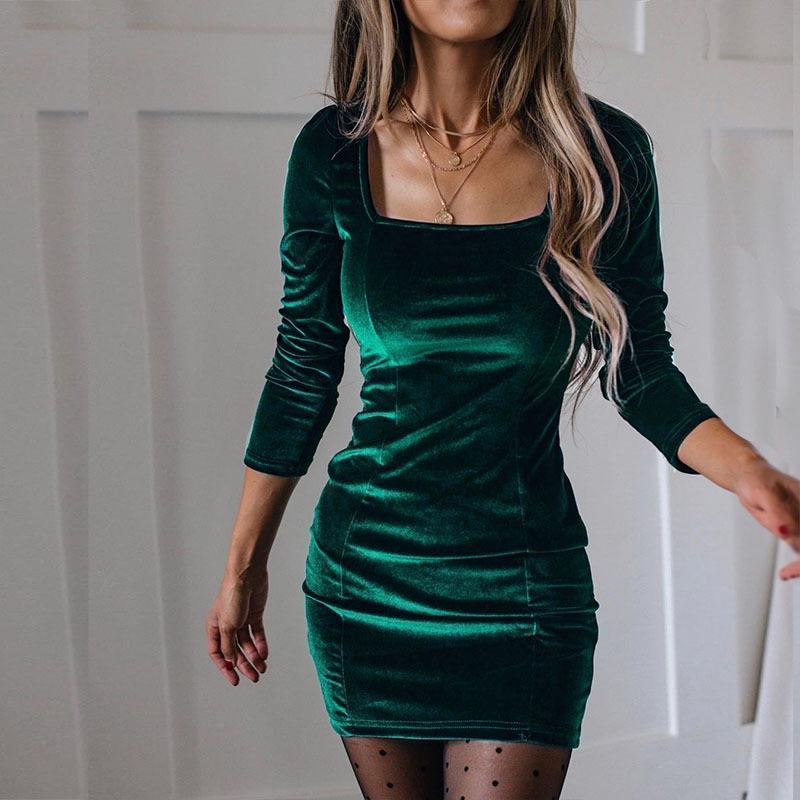 Velvet Femmes Robe Modycon Modond Soild Automne Hiver Élégant Femme Robes Party Manches Longues Vêtements gothiques Casual